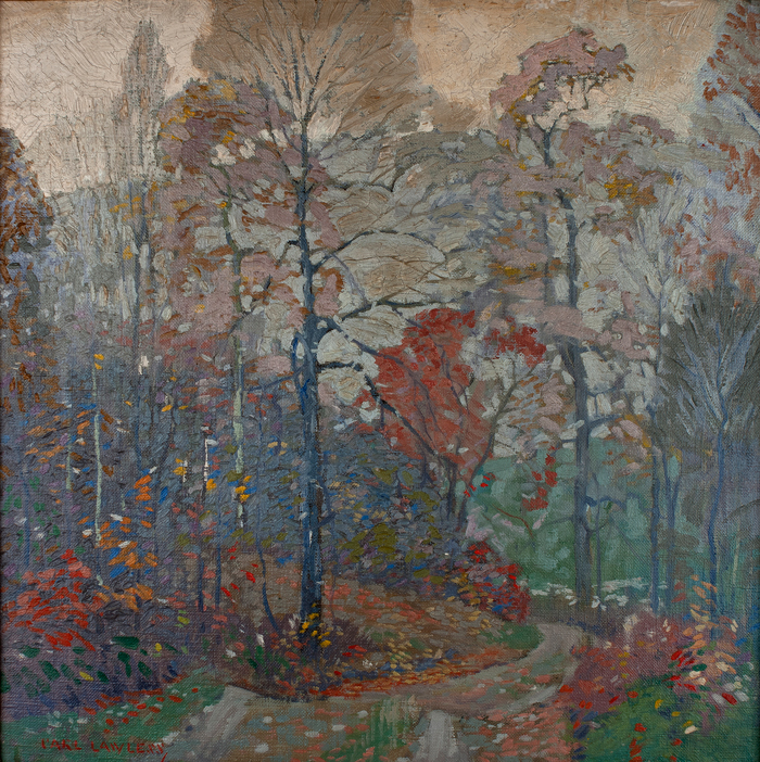 Carl Lawless, Country Lane Autumn. Oil on canvas, Mystic Museum of Art Permanent Collection