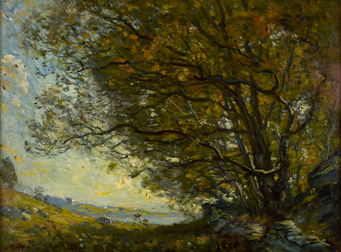 Henry Ward Ranger, Under The Bough. Oil on canvas, Mystic Museum of Art Permanent Collection