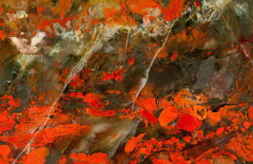 Photograph of lava and water mixing