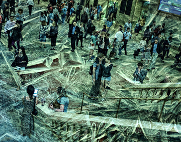 Altered photograph of Grand Central Station