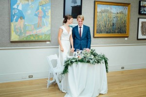 bride and groom in davis gallery