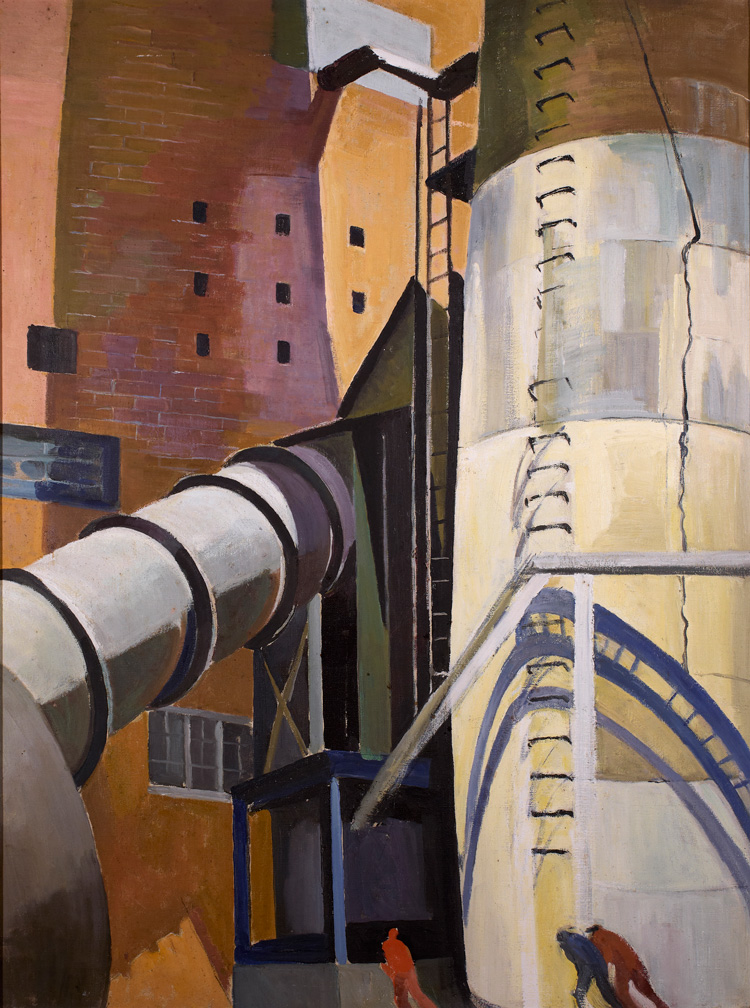 Beatrice Cuming, Industrial Stacks, Montville. Oil on canvas, Mystic Museum of Art Permanent Colloction