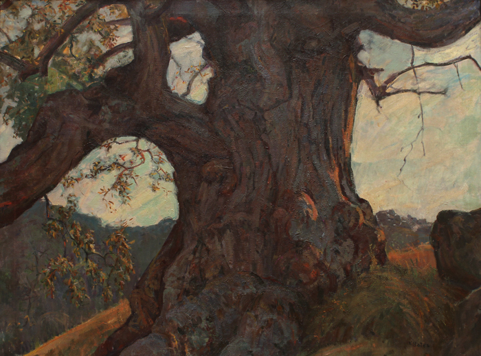 Earl Kenneth Bates, The Great Oak. Oil on canvas, Mystic Museum of Art Permament Collection