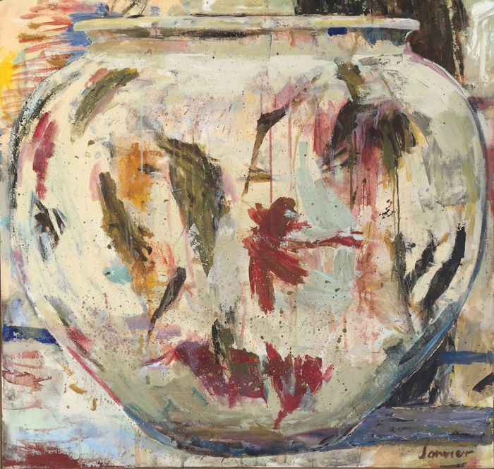 Janvier Miller, Naples Yellow Vessel. Acrylic on canvas