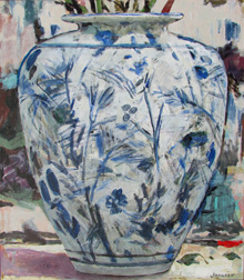 Janvier Miller, Chinese Vase, Acrylic on canvas